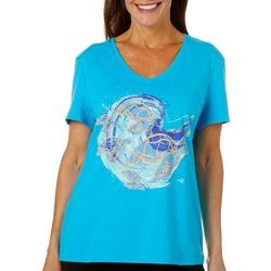 SunBay Womens Colorful Sea Turtle V-Neck Top