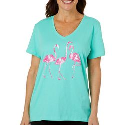 SunBay Womens Dancing Flamingos Print Top