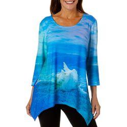 SunBay Womens Tropical Conch Sharkbite Hem Top