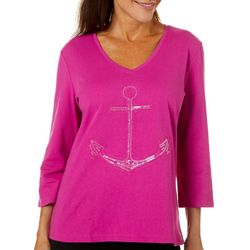 SunBay Womens Sequin Anchor Top