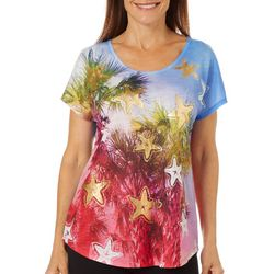 SunBay Womens Flag Print Dolman Sleeve Top