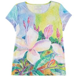 Art & Sol By Ellen Floral Art Short Sleeve Top