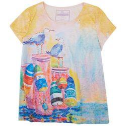Art & Sol By Ellen Chill Birds Pink Top