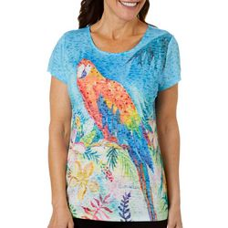 Ellen Negley Womens Parrot Burnout Short Sleeve Top