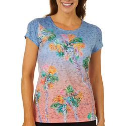 Ellen Negley Womens Palm Perspective Short Sleeve Top