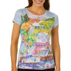 Ellen Negley Womens Bermuda Scene Burnout Short Sleeve Top