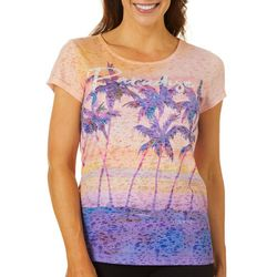 Ellen Negley Womens Shaded Sunset Burnout Short Sleeve Top