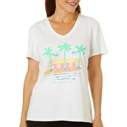 SunBay Womens Screen Print Beach Scene V-Neck Top