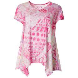 Leoma Lovegrove Womens Sparkly Striped Seashell T-Shirt