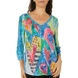 Leoma Lovegrove Womens Heart Print 3/4 Sleeve Top