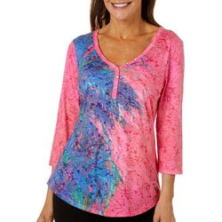 Leoma Lovegrove Womens Pink Palm Hugger Burnout Top