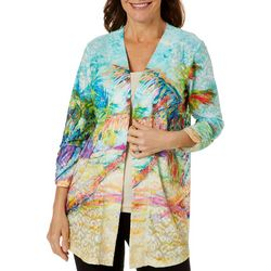 Womens Palms Away Open Front Cardigan