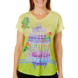 Womens Who Let The Birds Out Ombre Top