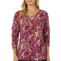 Caribbean Joe Womens Floral Print Caged Neckline Top