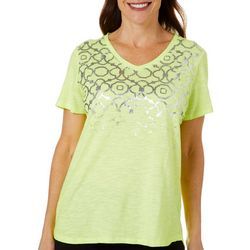 Sunsets and Sweet Tea Womens Geometric Foil Short Sleeve Top