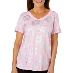 Sunsets and Sweet Tea Womens Metallic Hibiscus T-Shirt