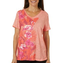 Sunsets and Sweet Tea Womens Hibiscus & Flamingo Print Top