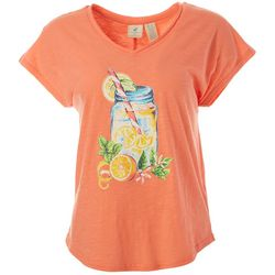 Caribbean Joe Womens Lemona Jar Screen Print Top