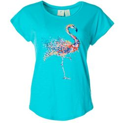 Caribbean Joe Womens Graphic Flamingo Top