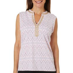 Sunsets and Sweet Tea Womens Geo Print Notch Neck Top