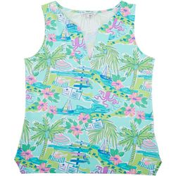 Sunsets and Sweet Tea Womens Tropical Print Notch Neck Top