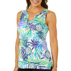 Sunsets and Sweet Tea Womens Pineapple Print Notch Neck Top