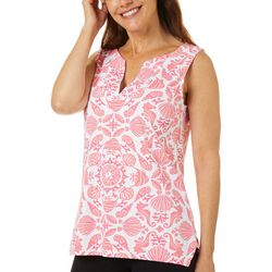 Sunsets and Sweet Tea Womens Sea Shell Print Notch Neck Top