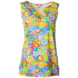 Sunsets and Sweet Tea Womens Lemon Print Notch Neck Top