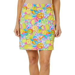 Sunsets and Sweet Tea Womens Fruit Print Pull On Skort
