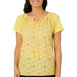 Caribbean Joe Womens Pineapple Eyelet Tassel Tie Top
