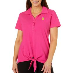 Caribbean Joe Womens Pineapple Tie Front Polo Shirt