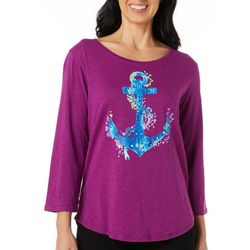 Caribbean Joe Womens Embellished Anchor Top