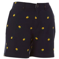 Caribbean Joe Womens Lemon Print Shorts