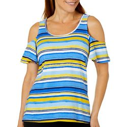 Caribbean Joe Womens Striped Cold Shoulder Top
