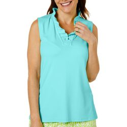 Womens Solid Ruffle V-Neck Top