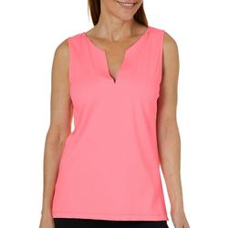 Sunsets and Sweet Tea Womens Solid Notch Neck Top