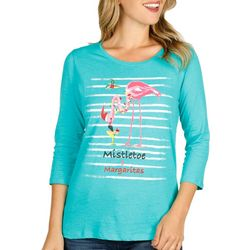SunBay Womens Flamingo Mistletoe & Margaritas Round Neck Top