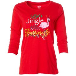SunBay Womens Jingle & Flamingle Round Neck Top
