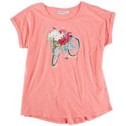 Kiwi Fresh Womens 3D Floral Bike Basket T-Shirt