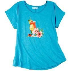 Kiwi Fresh Womens Hibiscus Drink Graphic T-Shirt