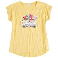 Kiwi Fresh Womens 3D Floral Truck T-Shirt
