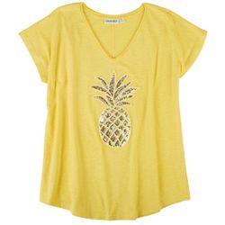 Kiwi Fresh Womens Sequin Pineapple T-Shirt