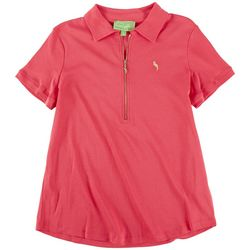 PAPPAGALLO Womens Solid Polo Shirt