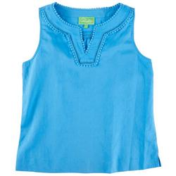 Womens Solid Lacey Sleevless Top