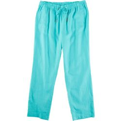 Pappagallo Womens Solid Linen Pants