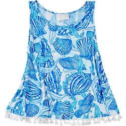 Womens Seashell Tassel Sleeveless Top