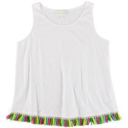 PAPPAGALLO Womens Rainbow Tassel Sleeveless Top