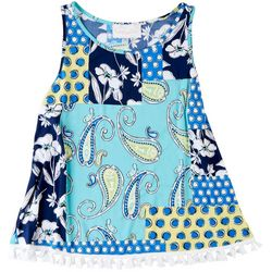 Pappagallo Womens Paisley Patchwork Tassel Top
