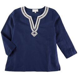 PAPPAGALLO Womens Embroidered 3/4 Sleeve Top