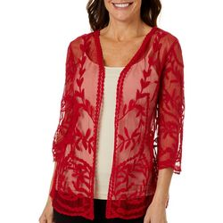 Hailey Lyn Womens Solid Crochet Bolero Shrug